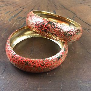 Bangle bracelet set of 2 Coral Gold Tone